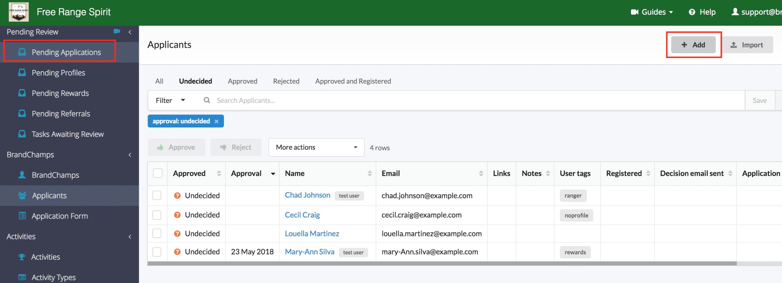 Add test user BrandChamp ambassador software