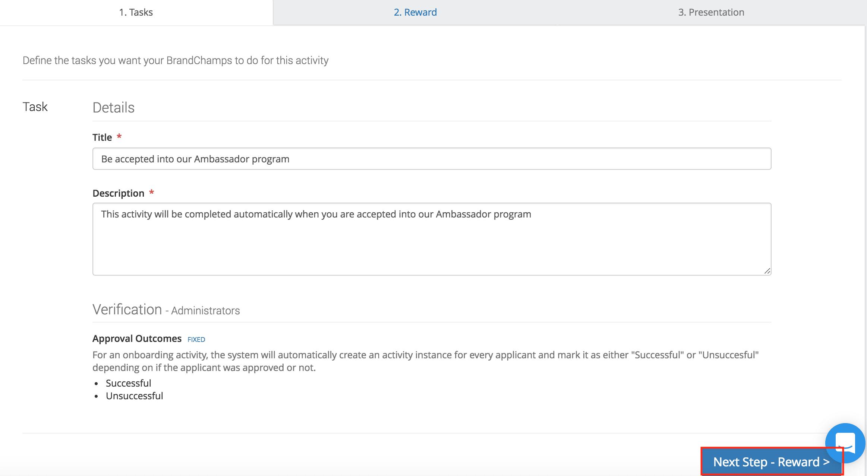 Onboarding ambassador activity task details verification options