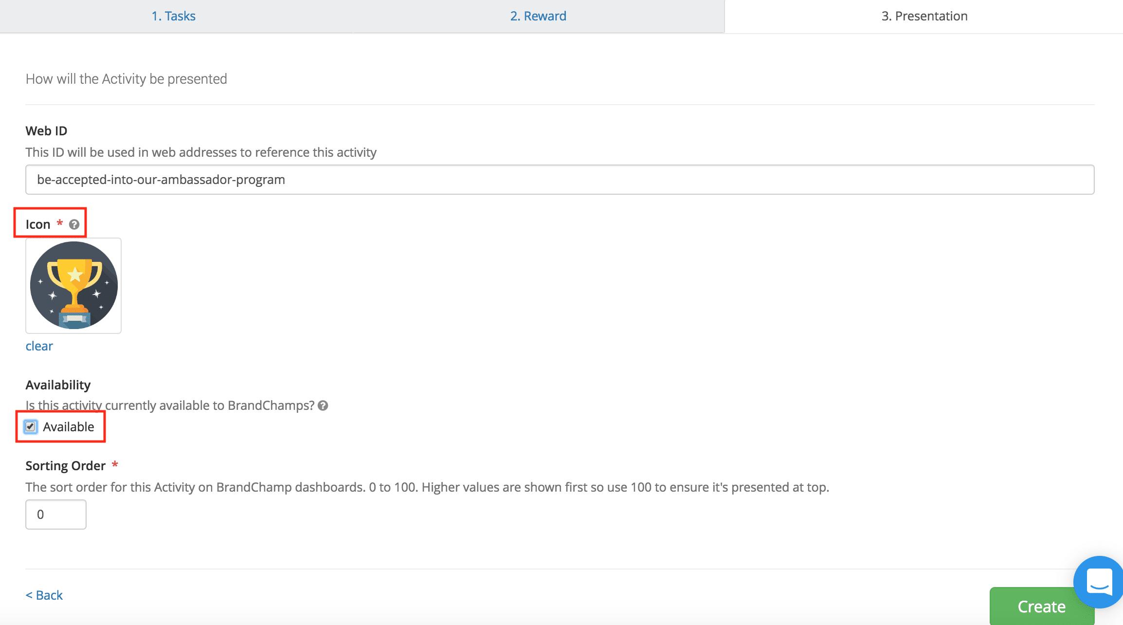 Ambassador reward activity presentation icon availability sort order