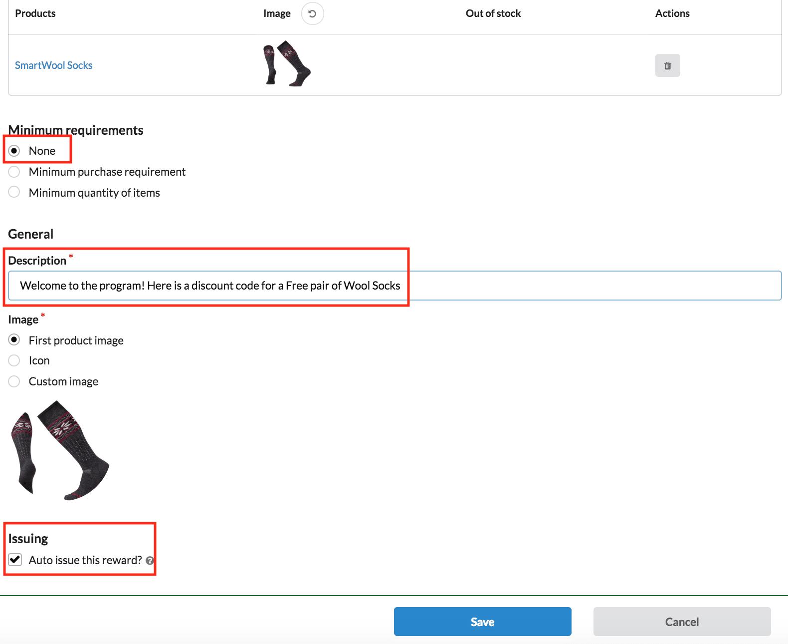 Configuration ambassador reward settings minimum requirements description image