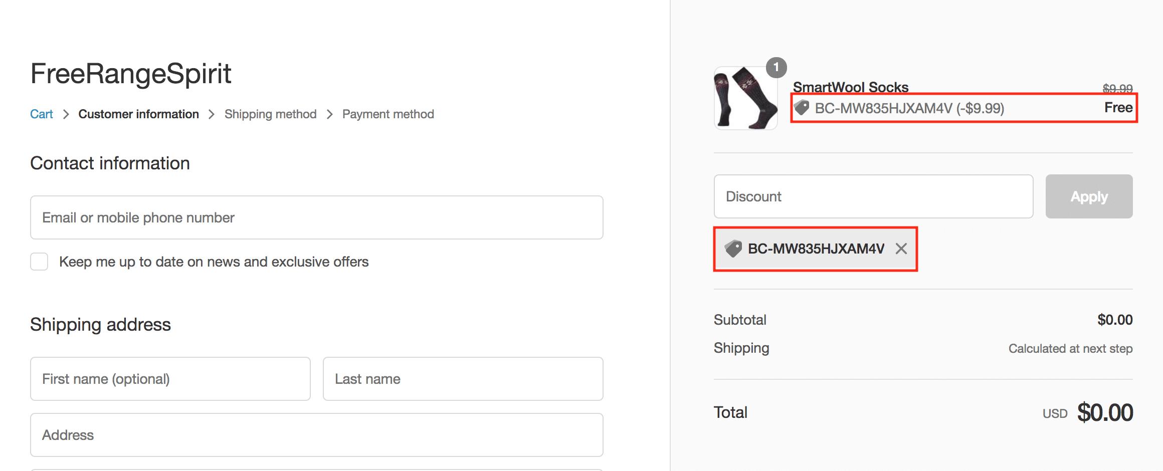 Ambassador onboarding discount code Shopify checkout socks
