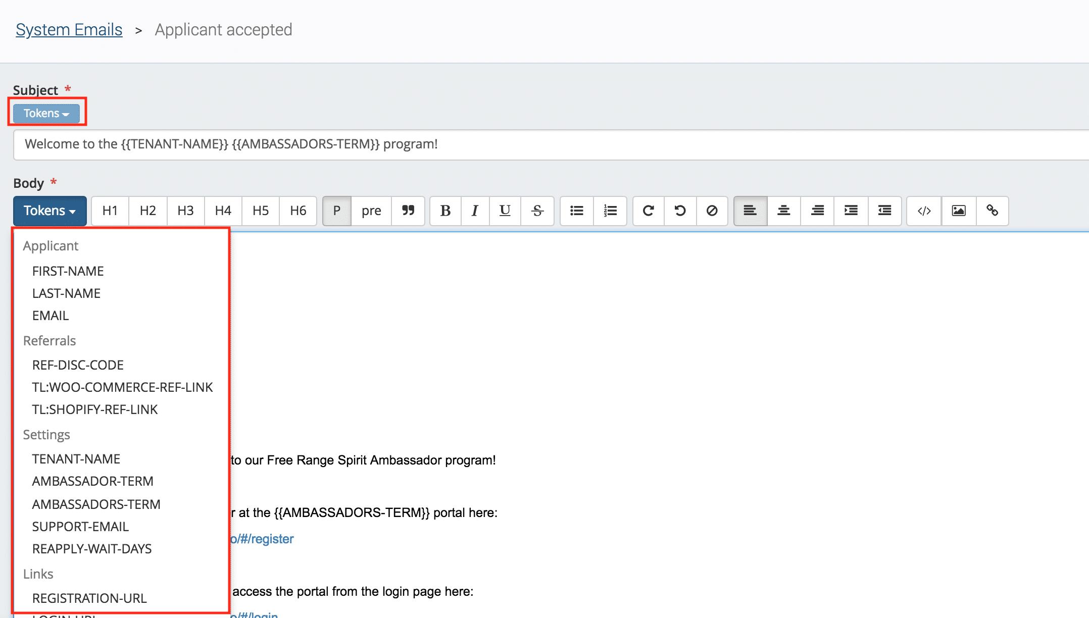 BrandChamp ambassador system email welcome email tokens