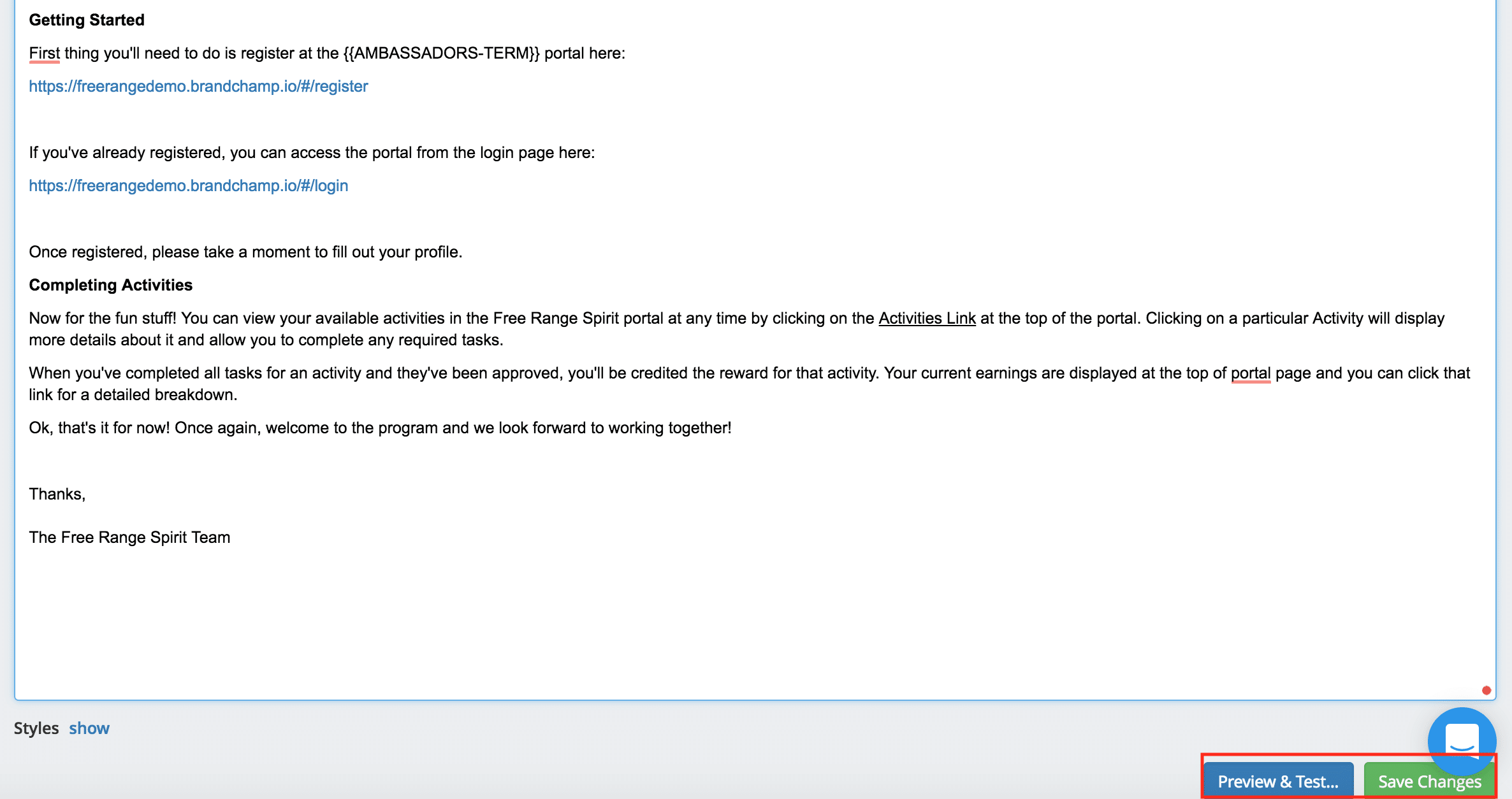 Ambassador software preview welcome email