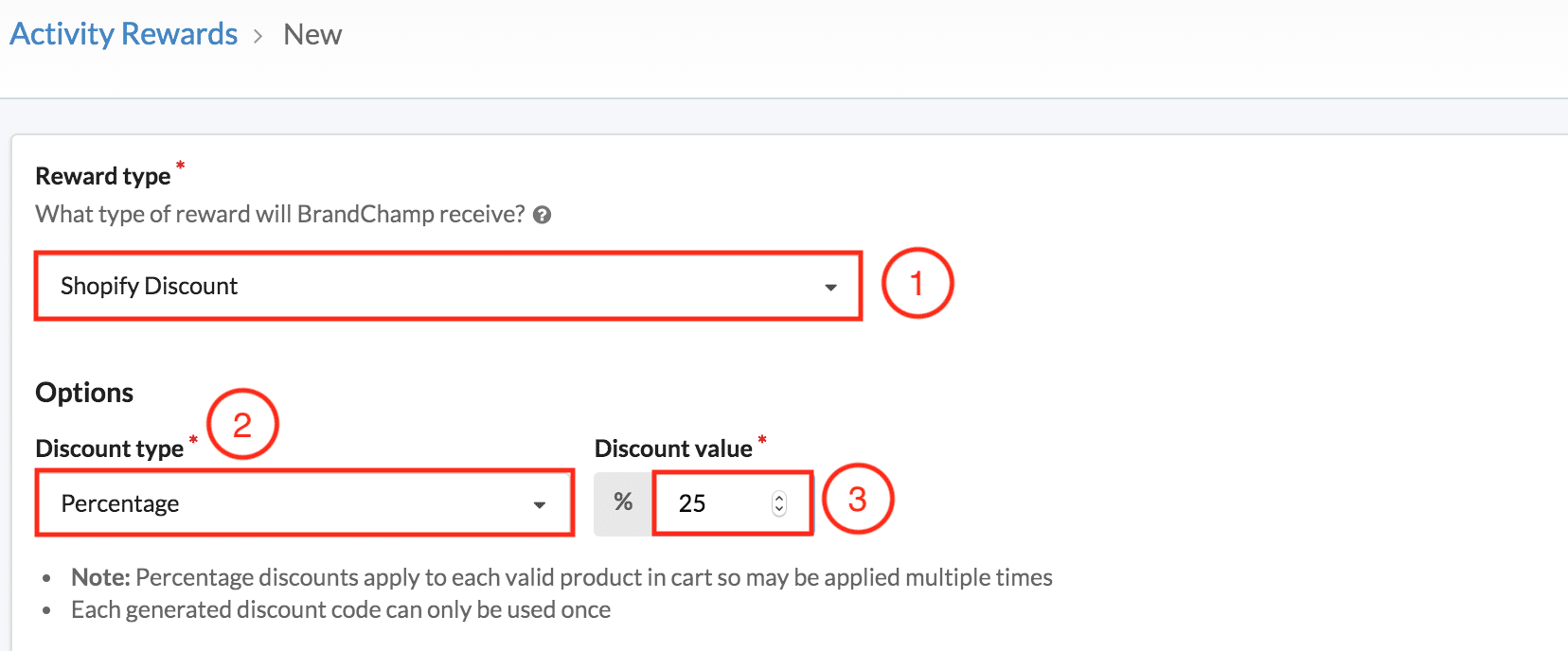 BrandChamp interface ambassador software reward types Shopify discount percentage discount