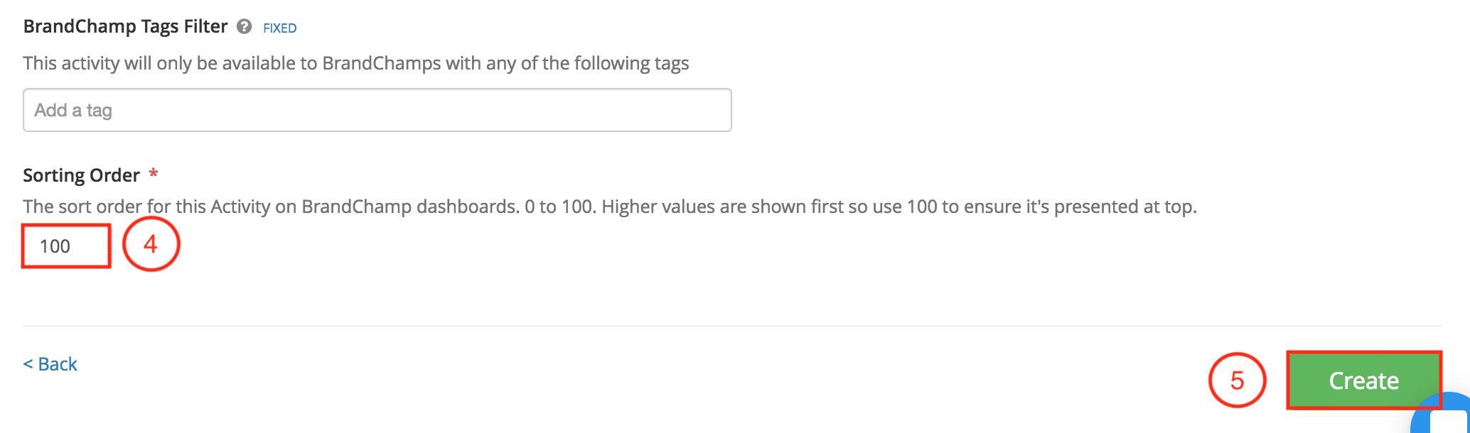 BrandChamp activity prsentation tag filter sorting order