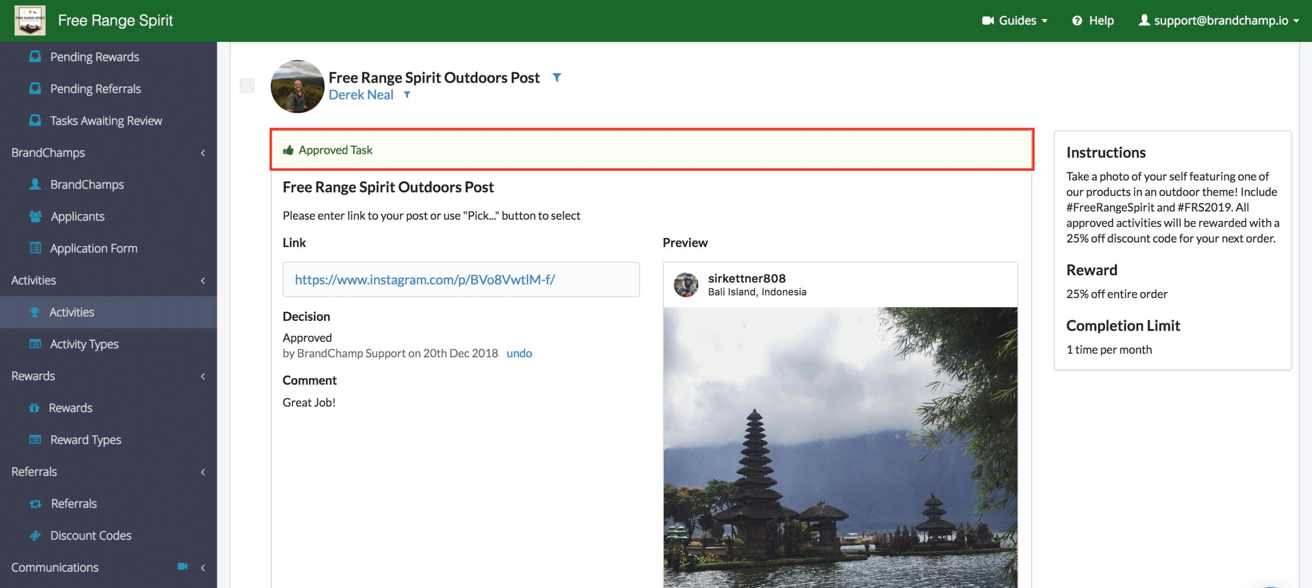 BrandChamp administrative portal activity review approved task Instagram post
