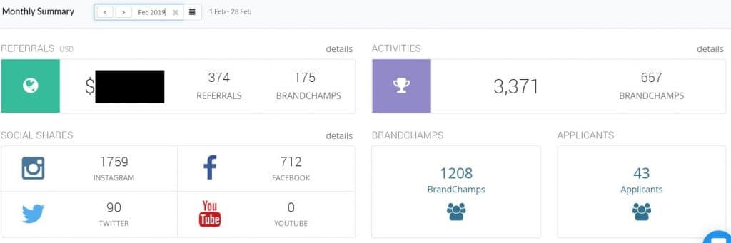 Screenshot of BrandChamp Report for Skirt Sports Ambassador Program