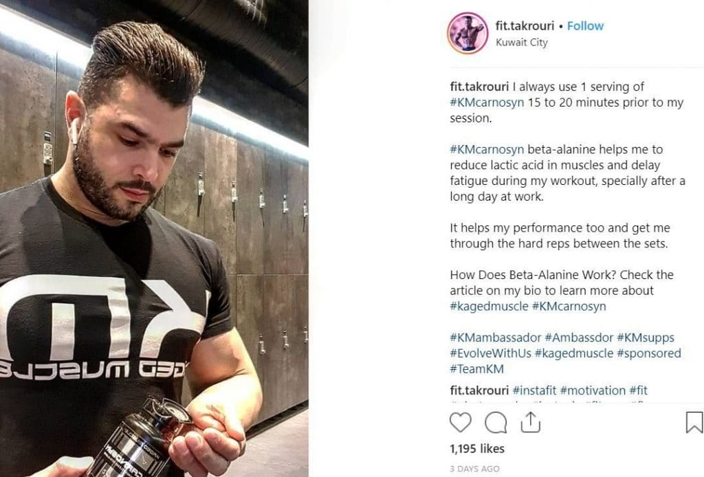 Instagram post Kaged Muscle brand ambassador user-generated content