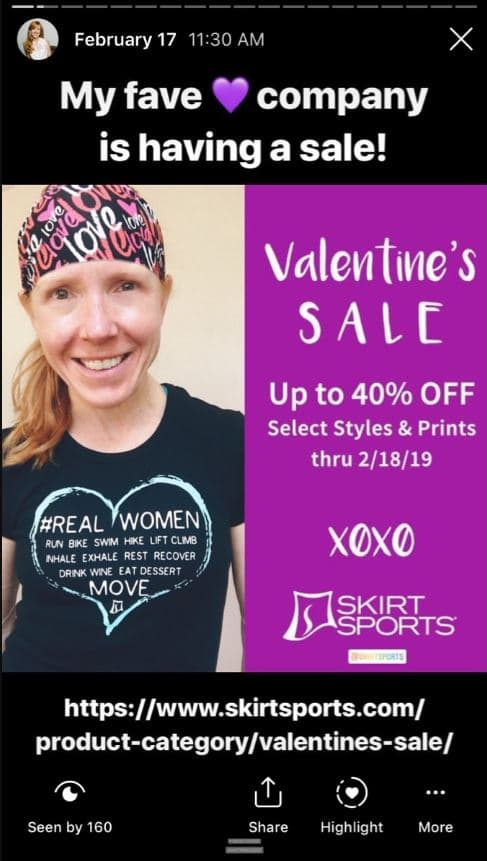Instagram story SkirtSports brand ambassador promoting valentines day sale