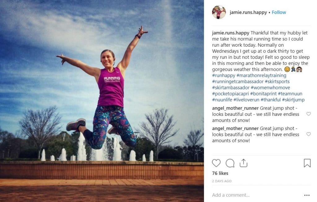 Instagram photo Skirt Sports brand ambassador jumping outside