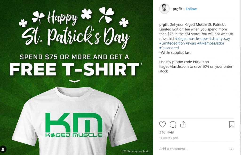 Instagram post Kaged Muscle St. Patrick's Day T-Shirt