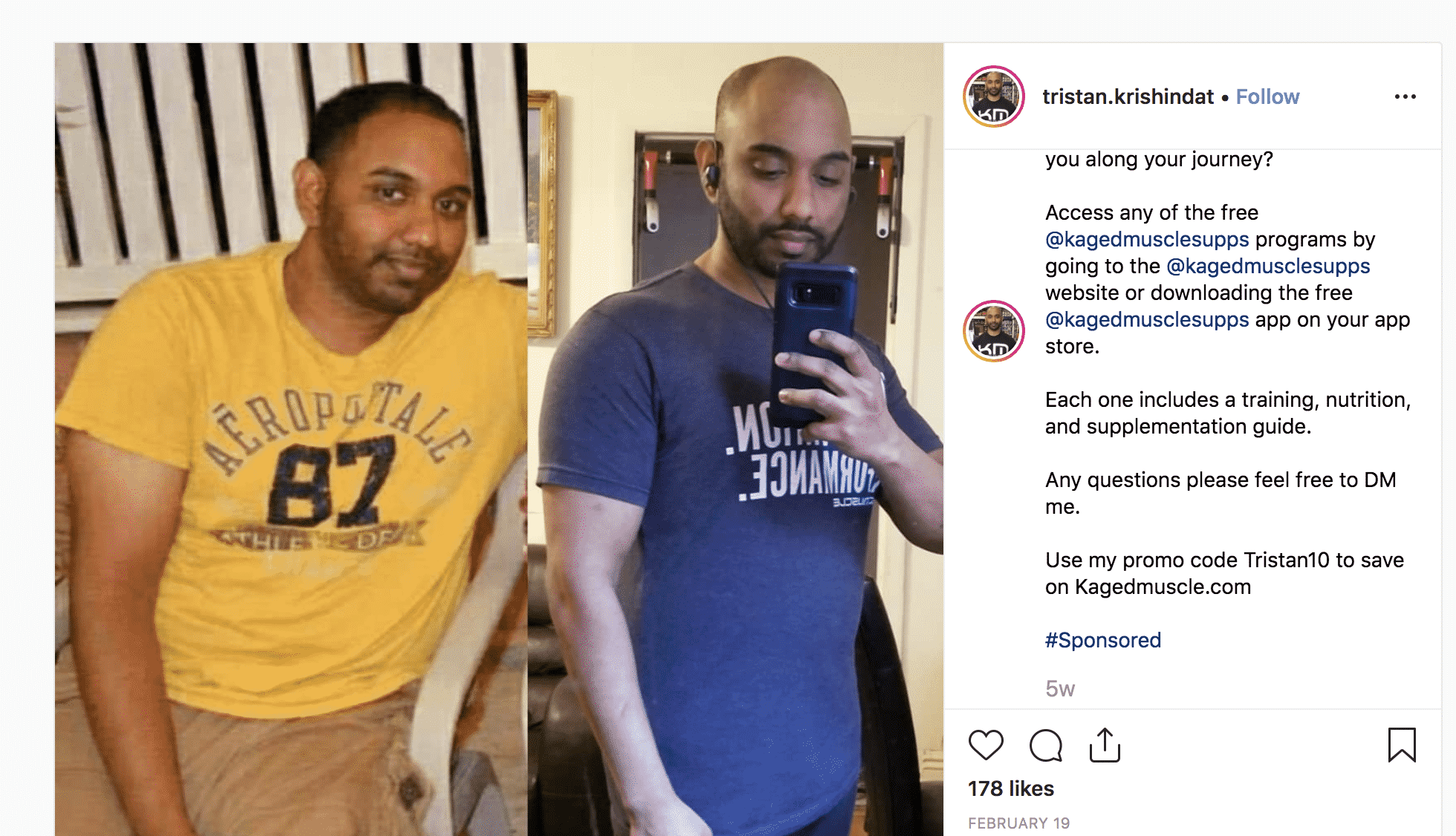 Before after fitness Instagram post Kaged Muscle ambassador