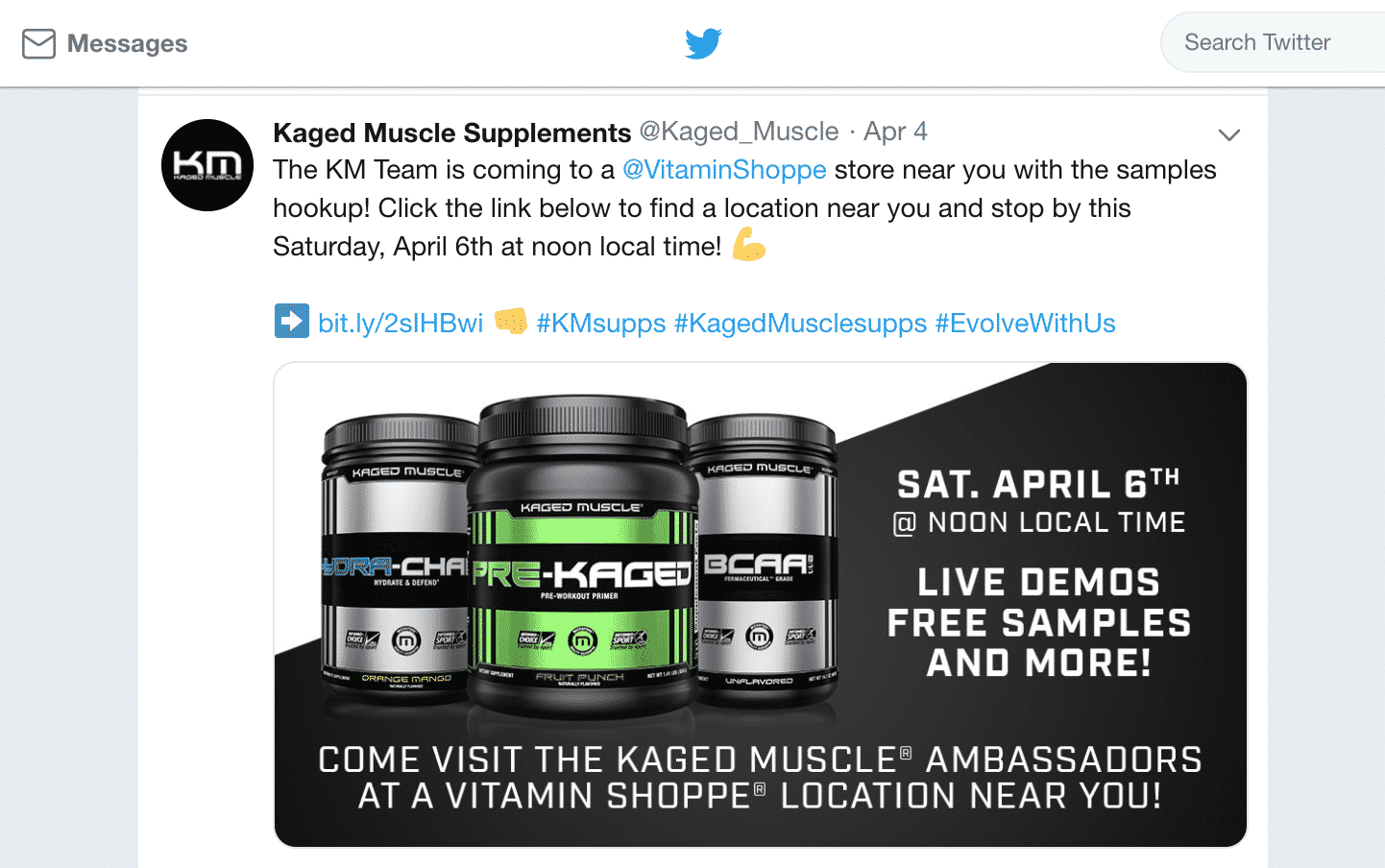 Kaged Muscle Twitter post supplements