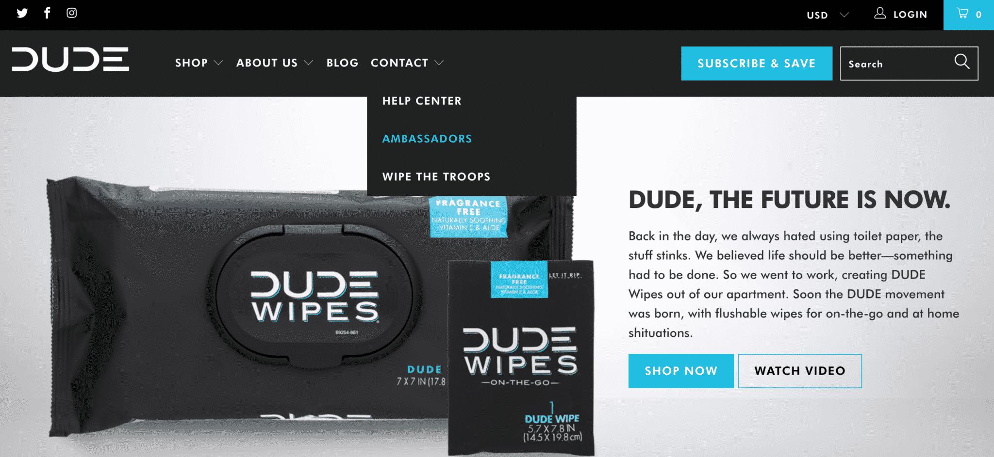 Dude Wipes website homepage