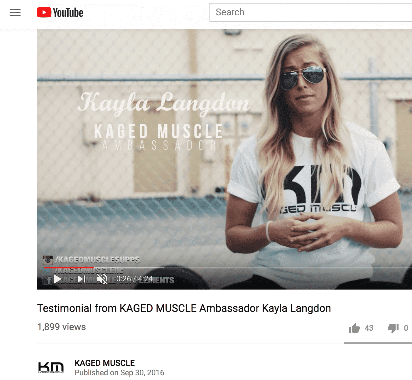 YouTube video screenshot Kayla Langdon Kaged Muscle ambassador testimonial