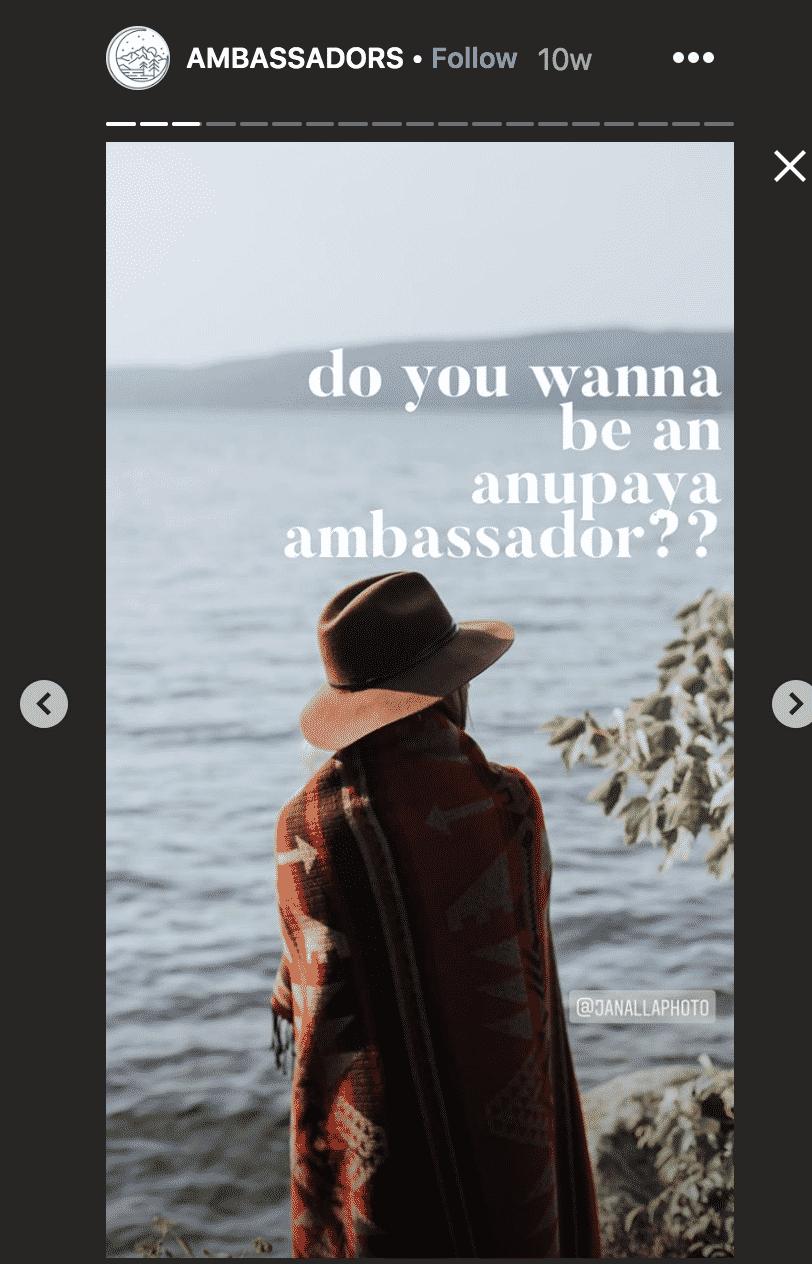 Anayupa ambassadors Instagram stories