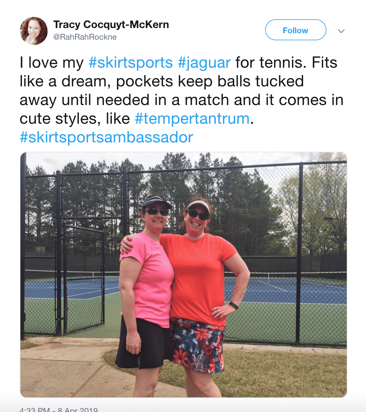 SkirtSports ambassador Twitter post two women skirts tennis courts
