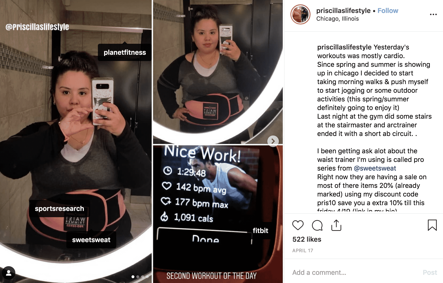 Instagraph post Sports Research Sweetsweat ambassador selfie