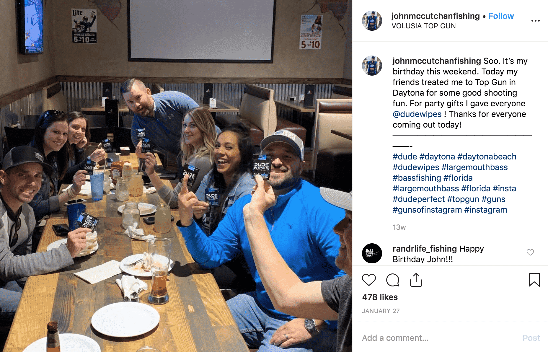 Dude Wipes ambassadors instagram post user generated content friends eating drinking restaurant