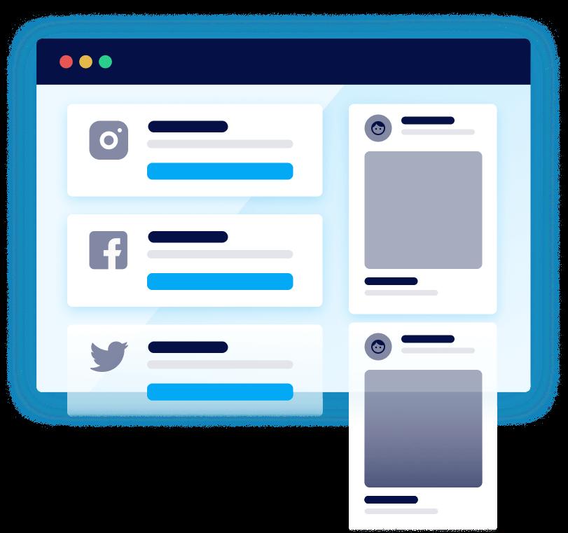 User interface social media Instagram Facebook Twitter