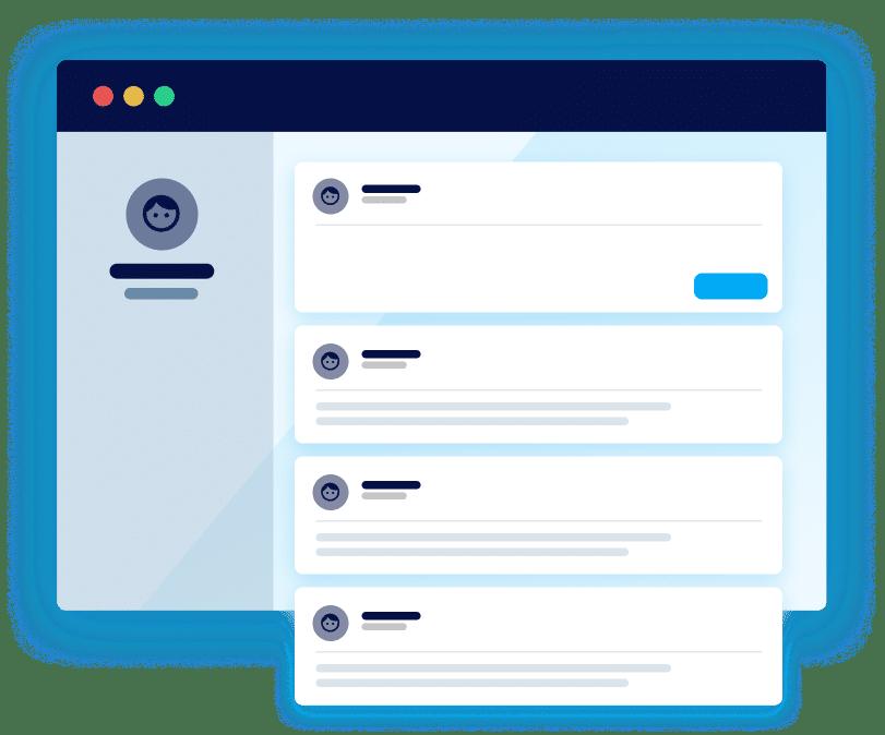 User interface drawing ambassador profile activity